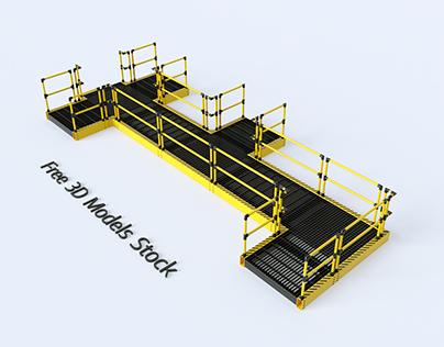 Industrial Walkway Set.1 Free 3D Model