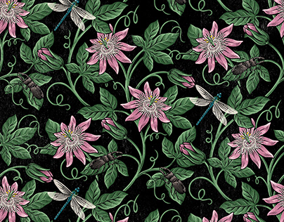 Passion flower and Insect print