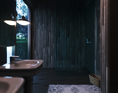 Modern Woodish Planks Bathroom