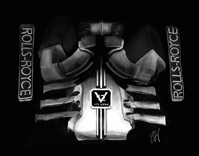 Phantom Black V12 Rolls Royce Engine Illustration