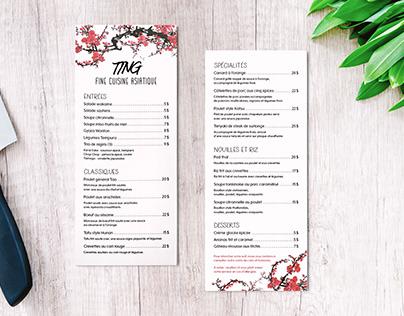 Menu restaurant Ting