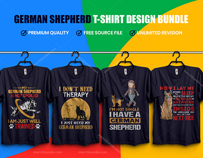German Shepherd T-Shirt Design Bundle