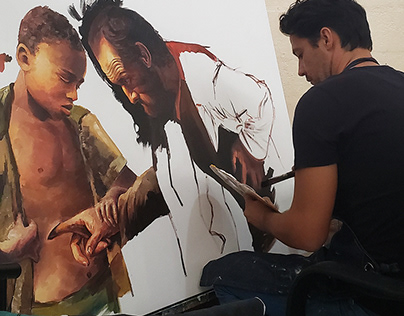 Encarnation 100x150cm Acrylics Inspired by Caravaggio