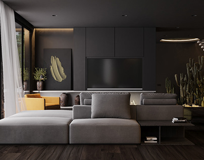 INTERIOR. Black modern house in the woods