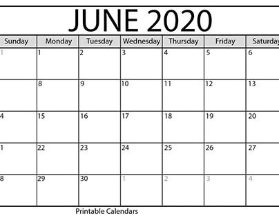 Free Printable June 2020 Calendar Decorative Template