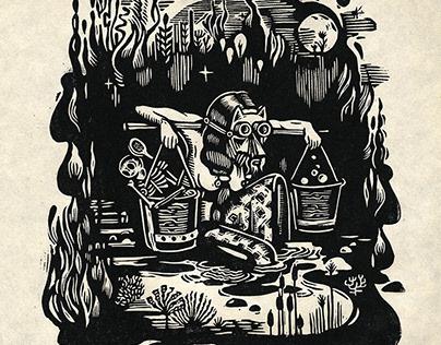 Linogravure La Source