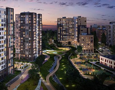 The residential complex Skandinavia in different season