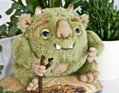 Woodland Troll, fantasy creature, OOAK soft art toy