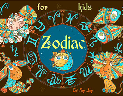 Zodiac signs for children. Horoscope in a cute style