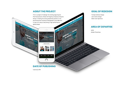 Redesign the landing page of Square Pharmaceuticals.