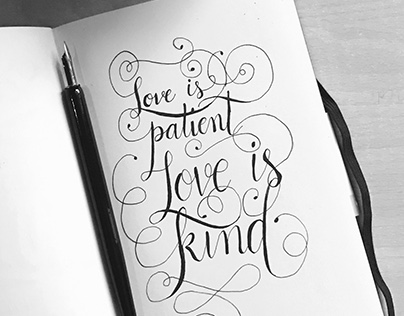 Dip pointed pen calligraphy project