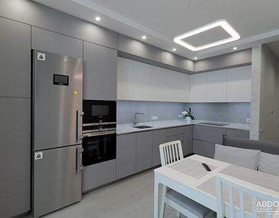 Современная светлая кухня под потолок. Столешница кварц