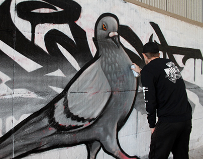 Pigeon Graffiti Piece