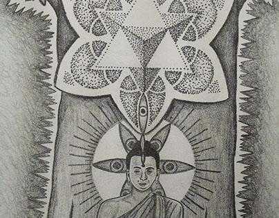 Meditation-Stone Lithograph Print