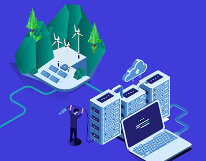 Isometric Illustration - Cloud Mining with Green Energy