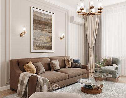 Двухкомнатная квартира в стиле современная классика