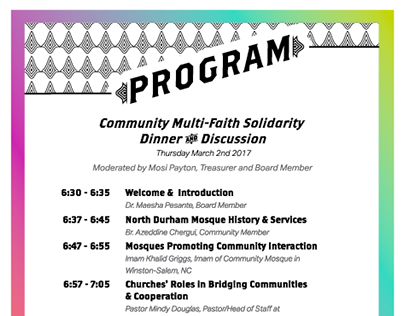 Multi-faith Dinner Event layout