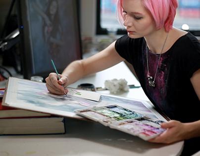 Watercoloring Hair and Shading