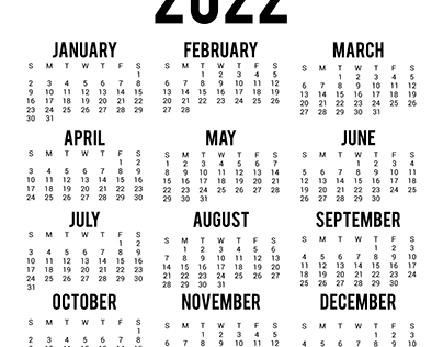 New Year Yearly Calendar 2022 Template