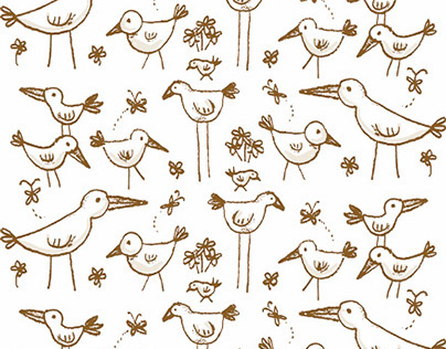 Hand drawn bird pattern illustration