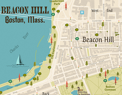 Boston Map, Beacon Hill