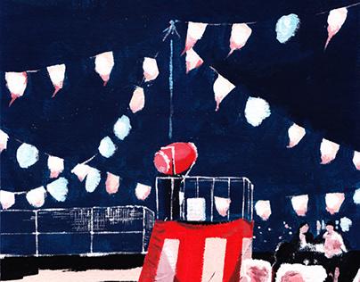 Summer festival (illustration, acrylics, 2021)