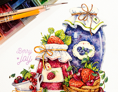 Berries and fruits / watercolor