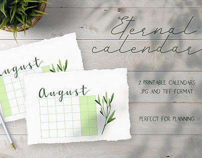 Eternal printable calendar 2020