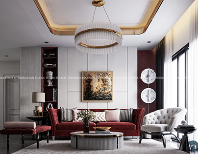 BURGUNDY RED LIVING ELEGANT STYLE DESIGN BY MID Studio