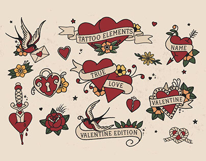 Tattoo Elements - Love Edition - Vector Design