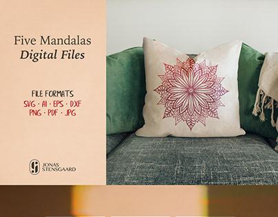 Five Mandala SVG Files