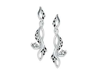 Diamond earings with enamel