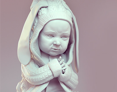 Sculpting model of a baby for 3d printing