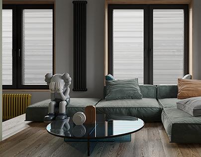 Visualization kitchen-living room