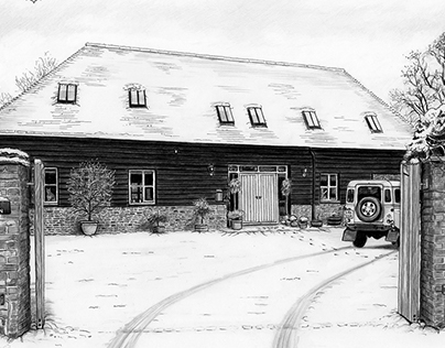 'The Barn' - Pencil & Pen Sketch