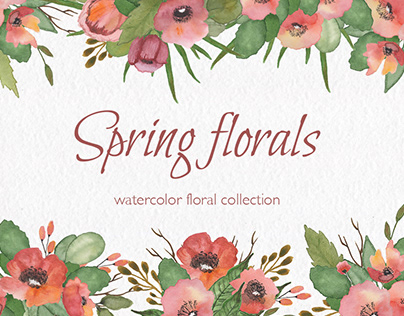 Spring florals. Watercolor floral collection.