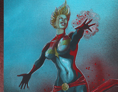 Captain Marvel Acrylic painting