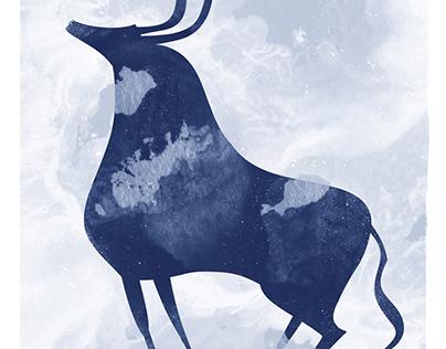 Prehistoric Stylized Animal Silhouette