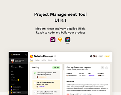 Project Management UI Kit Freebie Included