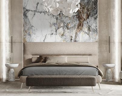 Bedroom marble + metal + wood, PecherskPlaza, Kiev