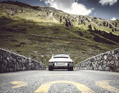 a porsche 911 swbt at the beautiful passo dello stelvio