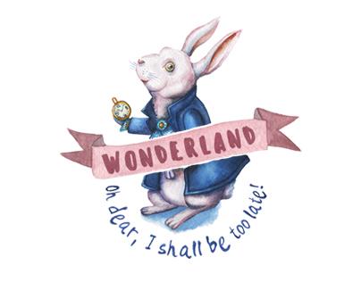 WONDERLAND. Watercolor graphic set