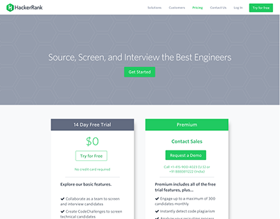 HackerRank Pricing Page