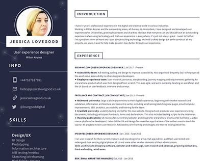 Updated CV: Jessica Lovegood