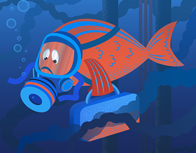 Illustration fish swimming away from the oil spill