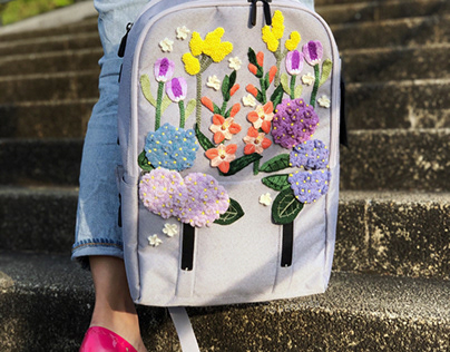 Spring Hand Embroidery on Urbo 2 Citybag Lojel