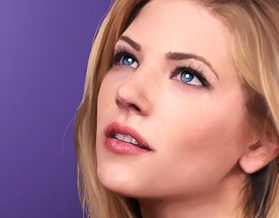 Katheryn Winnick Portrait Illustration Drawing