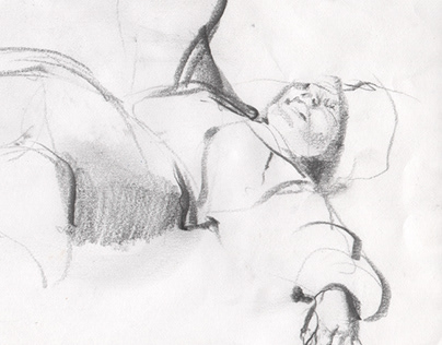 The sketches of figures I, pencil drawing