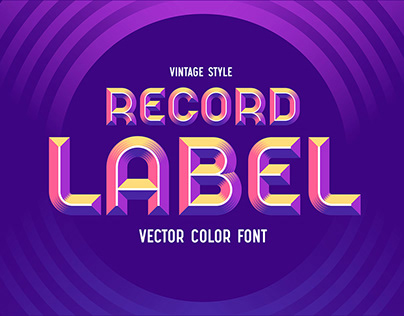 Record Label - Color Vector Font