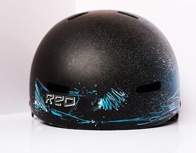 Custom RED snowboard helmet